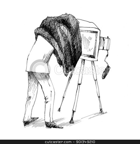 retro photographer making a photo stock photo, vintage drawing illustration of photographer making a photo by Igor Zakowski