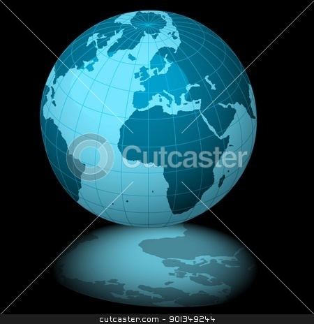 Blue Planet Earth stock photo, Blue Planet Earth - colored background illustration by derocz
