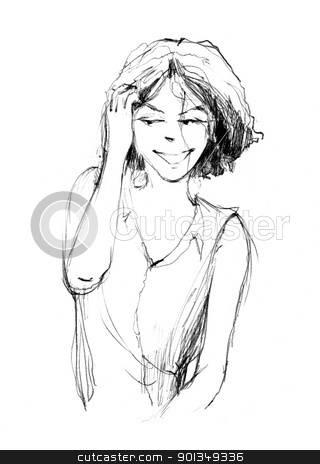 cute woman stock photo, sketch drawing illustration of beautiful woman by Igor Zakowski