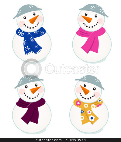 Cute vector snowmen collection isolated on white stock vector clipart, Colorful vector snowman icons - vector illustration  by Jana Guothova