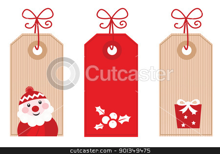 Retro Christmas Gift Tags or Labels ( red ) stock vector clipart, Cute stylized Retro Christmas sale labels. Vector Illustration.  by Jana Guothova