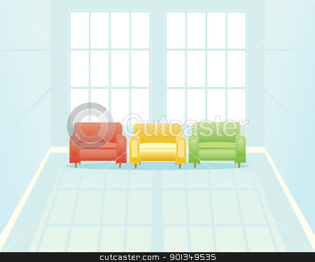 waiting room with window stock vector clipart, an illustration of a light blue waiting room with three comfortable chairs near two tall windows by Mike Smith