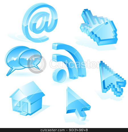 Web symbols stock vector clipart, Blue internet icons isolated on white by Vladimir Gladcov