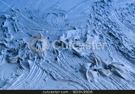 blue pastose paint detail stock photo, blue abstract painted background with thick paint by prill