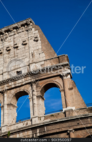 Colosseum with blue sky stock photo, Colosseum in Rome with blue sky, landmark of the city by Perseomedusa