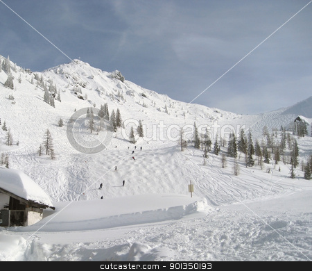 Wagrain mountain scenery stock photo, Winter scenery in Wagrain (Austria) with ski piste and lots of snow in sunny ambiance by prill