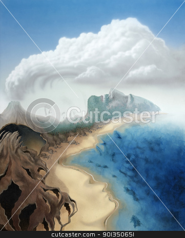 surreal faces in a virtual landscape stock photo, picture painted by me, named Lineaments, it shows various surreal faces formed by the landscape and surroundings in mystic sunny ambiance by prill
