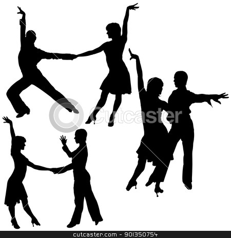 Latino Dance Silhouettes stock photo, Latino Dance Silhouettes - black illustrations by derocz