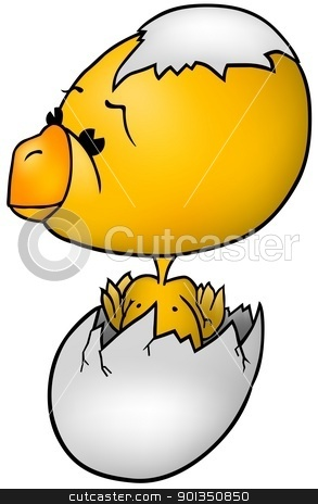 Chicken stock photo, Chicken - colored cartoon illustration by derocz