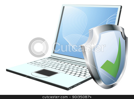Computer security concept stock vector clipart, Laptop with shield tick icon. Concept for internet security or antivirus or firewall etc. by Christos Georghiou