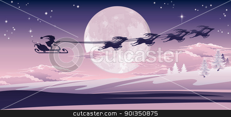 Santa flying in his sled stock vector clipart, Silhouette of Santa and his reindeer flying through the air over winter scene. by Christos Georghiou