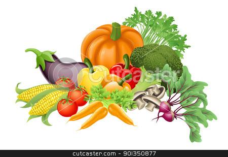 Tasty vegetables illustration stock vector clipart, Illustration of an assortment of fresh tasty vegetables by Christos Georghiou