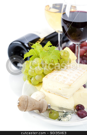 Grape, wine and cheese stock photo, Grape and cheese with a bottle and glasses of red and white wine by klenova
