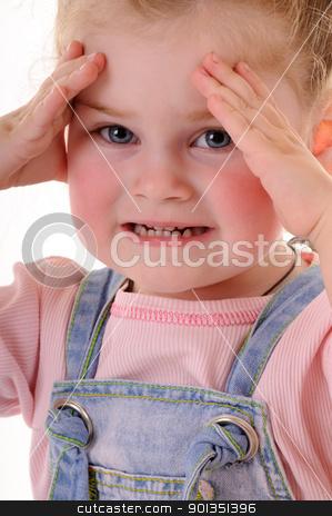 Small girl stock photo, Small girl showing her teeth by Iryna Rasko