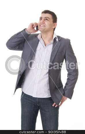 Young casual man with phone stock photo, Young casual man in jeans and jacket with phone isolated on white background by Iryna Rasko