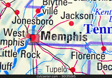 Memphis stock photo, Memphis, Tennessee on a map by Ingvar Bjork