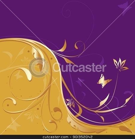 Golden-violet Floral stock photo, Golden-violet Floral - colored abstract illustration by derocz