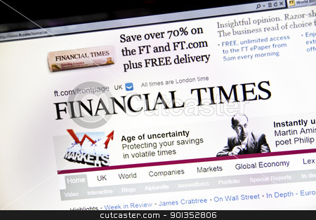The Financial Times Website stock photo, The Financial Times Website on computer screen by Ingvar Bjork