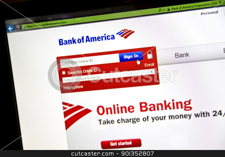 Bank of America stock photo, Bank of America website on computer screen by Ingvar Bjork