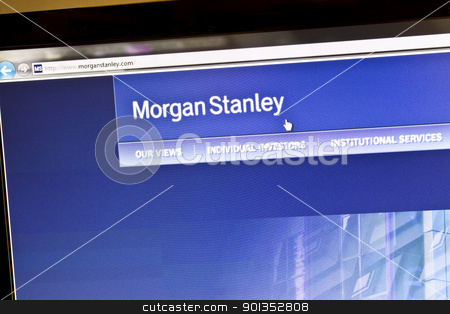 Morgan Stanley stock photo, Morgan Stanley bank website on computere screen by Ingvar Bjork