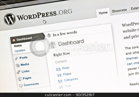 WORDPRESS stock photo, WORDPRESS official website on computer screen by Ingvar Bjork