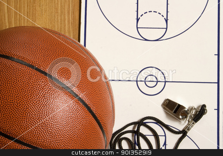 Basketball, Whistle and Blank Clipboard stock photo, A basketball with a whistle and blank clipboard with copyspace by saje