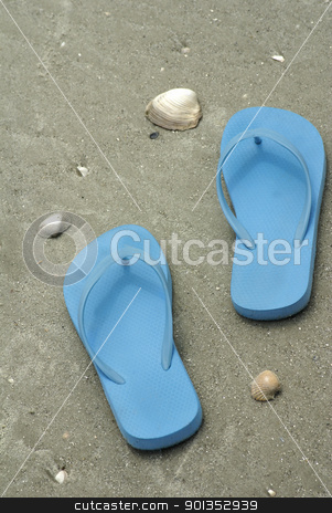 Blue flip flops on beach stock photo, Blue flip flops on wet sand beach by saje