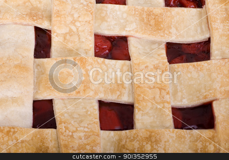 Cherry Pie Close Up Square stock photo, Close Up of a home made cherry pie by saje