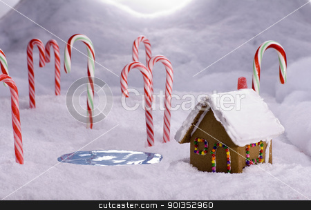 Christmas Candy Cane Forest Cottage Pond stock photo, A ginger bread cottage near a candy pond in a snowy candy cane forest by saje
