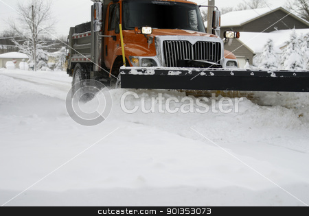 Snow Plow Up Close stock photo, Up close image of a snow plow moving snow during a blizzard by saje