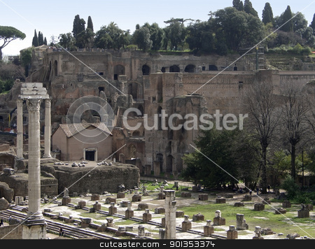 detail of the Forum Romanum stock photo, Forum Romanum in Rome (Italy) at summer time by prill