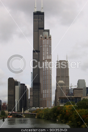 Chicago skyline stock photo, detail of Chicago skyline (USA) in cloudy ambiance at summer time by prill
