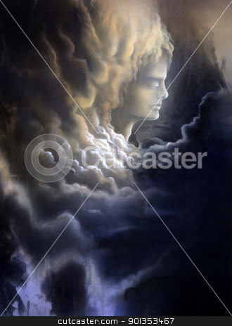 meditative face and stormy clouds stock photo, surreal canvas painting painted by me named melancholic, it shows a thoughtful face surrounded of dramatic stormy clouds by prill