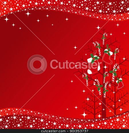Christmas greeting card stock vector clipart, Christmas greeting card red candy on xmas tree by meikis