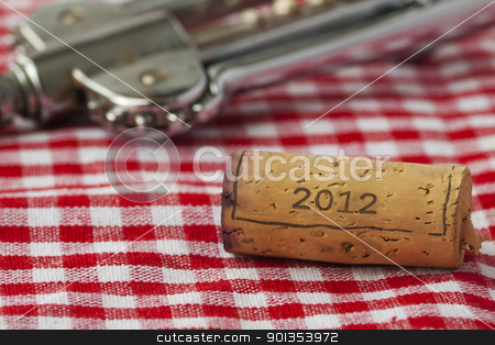 Cork of 2012 stock photo, Wine bottle cork with year date