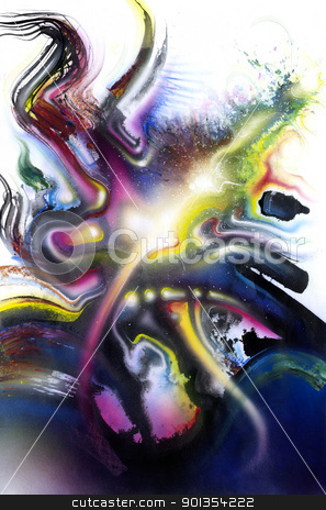 multicolored vivid Splash stock photo, picture painted by me, named Chromatic Splash, it shows swinging multicolored brush strokes and some light effests by prill