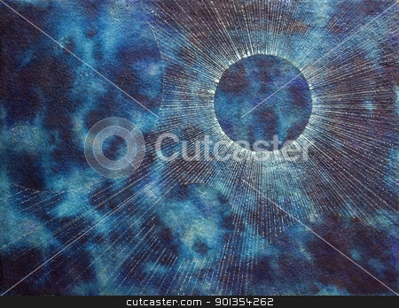 blue spacy coronal background stock photo, abstract picture painted by me named coronal background, it suggests a spacy blue clouded ambiance with planet-like structures and a mystic radial corona by prill