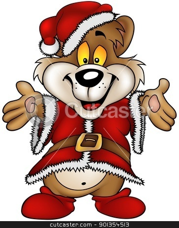 Christmas Happy Bear stock photo, Christmas Happy Bear - detailed and coloured cartoon illustration by derocz