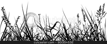 Grass stock photo, Grass - black detailed silhouettes by derocz