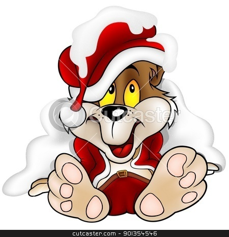 Bear Santa Claus stock photo, Puppy Bear as Santa Claus - detailed cartoon illustration by derocz