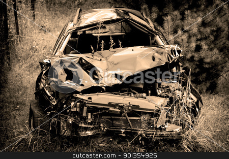 Car wreck stock photo, Old damaged rusty car wreck abandoned in the grass by johnnychaos