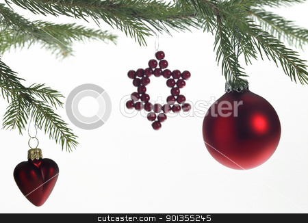 decorative christmas back stock photo, christmas decoration with red christmas tree ball and other baubles in light back by prill
