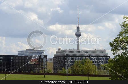 Berlin scenery with television tower stock photo, cityl view of Berlin (Germany) with television tower at summer time and clouded sky by prill