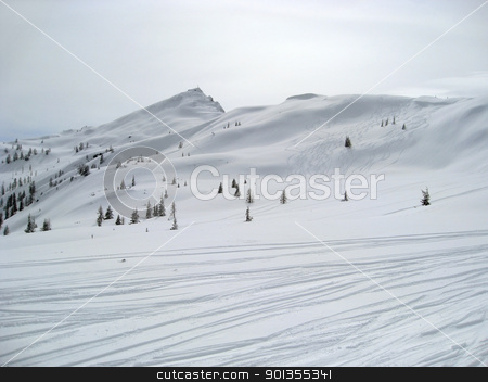 Wagrain winter scenery stock photo, Winter scenery in Wagrain (Austria) with ski slope and lots of snow in hilly ambiance by prill