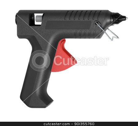 black hot glue gun stock photo, studio photography of a black hot glue gun in white back by prill