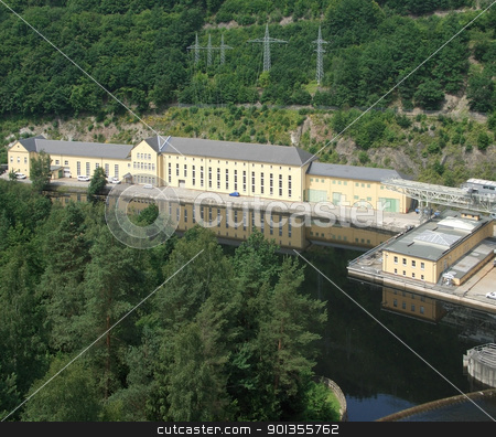 hydropower plant in Thuringia stock photo, sunny illuminated aerial view of a a hydropower plant in Thuringia by prill