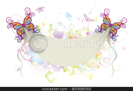 Abstract floral butterfly banner background  stock vector clipart, Abstract background of flowers with butterflies holding up a sheet banner with space for text by Christos Georghiou