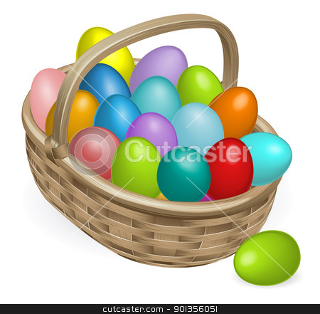 Easter eggs basket illustration stock vector clipart, Colourful painted Easter eggs in a wooden basket by Christos Georghiou