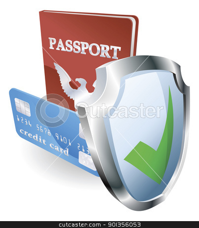 Personal identity security stock vector clipart, Personal identity documents with shield icon indicating they are protected, safe, secure or insured. by Christos Georghiou
