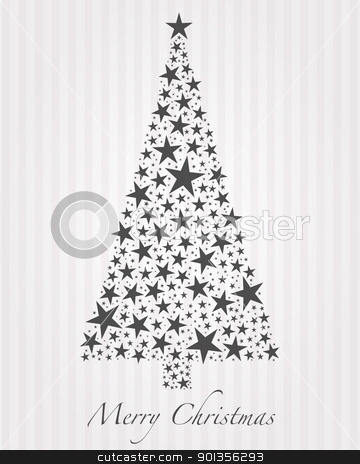 Christmas tree from stars  stock photo, Christmas tree from gray stars and text by d3images